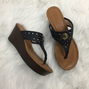 Tommy Hilfiger Navy Wedge Thong Sandals SZ 9.5